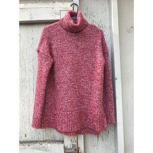 J Crew Red/Pink Turtleneck Sweater Size XS